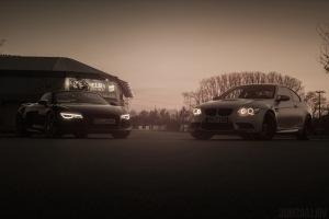 Audi R8 Spyder und BMW M3 E92 Sonnenuntergang Wallpaper