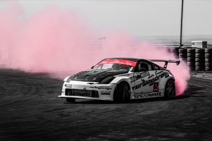 Nissan 350Z roter Rauch Drift Wallpaper Nürburgring