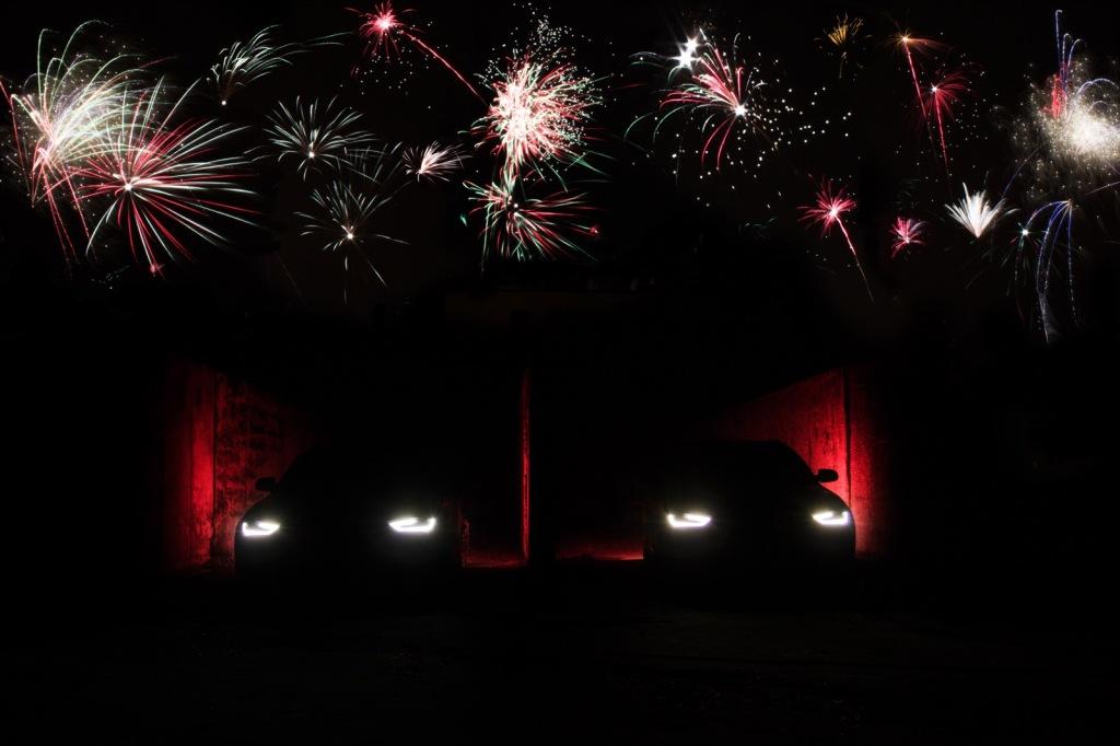 Silvesterbild Audi A4 B8 Wallpaper mit Feuerwerk