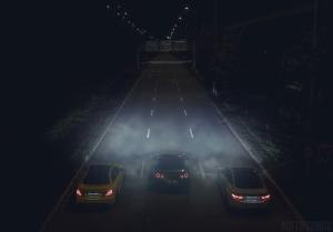 Mercedes C63S AMG Nissan GTR und BMW M4 nachts oben Wallpaper