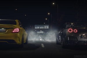 Nissan GTR und Mercedes C63S AMG Nachts Wallpaper